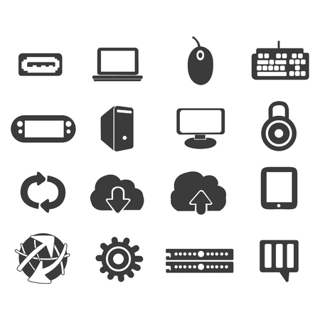 The set of computer in vectors Illustration