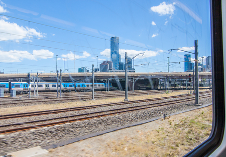 The city with the train Stock Photo