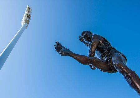 the statue with blue sky