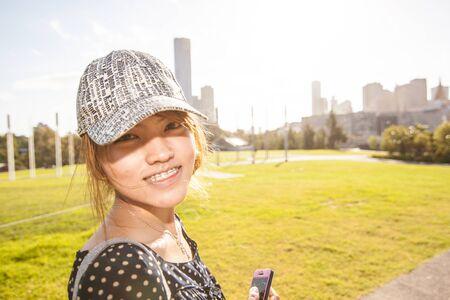 The girl with the warm  sun light