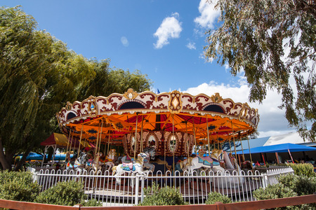skie: Carousel with the blue skie Stock Photo