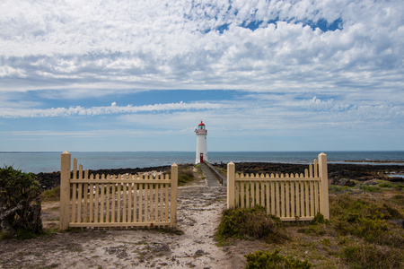 Griffiths Island Lighthouse trading port for western Victoria, Australia Stock Photo