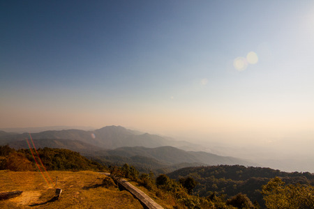 doi: The view from Methanidonnoppha stupa in Inthanon national park, Chiangmai, Thailand