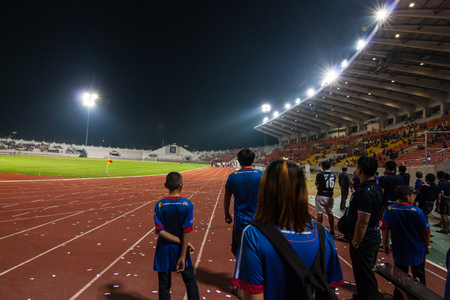 Changmai FC vs Sukhothai F.C. Thailand Regional League Division 1 Saturday, March 7 2015, the 700th Anniversary Stadium, Changmai, Thailand - The people were supporting for the big match of  Changmai FC vs Sukhothai F.C. with score 2-2