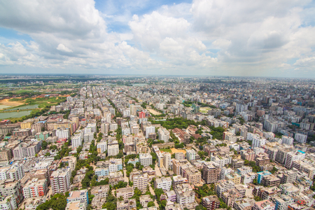 Aerial shot from Dhaka, Bangladesh with blue sky