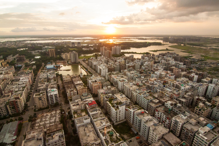 Aerial shot from Dhaka, Bangladesh with blue sky