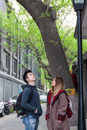 Thai lover travelers in Hutong, Beijing China