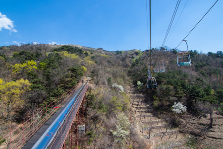 Cable cars from the top, Mutianyu Great Wall, China