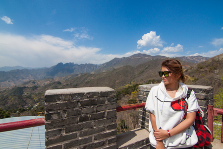 The Mutianyu Great wall in Beijing, China with blue sky