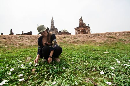 Thai girl solo traveler in the temple, Sukhothai