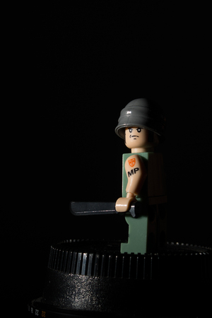 coercion: Portrait of a soldier of the building block