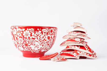 Broken red bowl