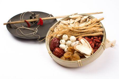 Chinese medicine on white background.