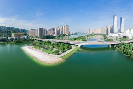 Aerial photography of White Beach, Jieqing Island, Meixi Lake, Changsha City, Hunan Province, China