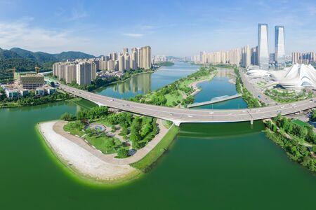Aerial photography of White Beach, Jieqing Island, Meixi Lake, Changsha City, Hunan Province, China Stok Fotoğraf