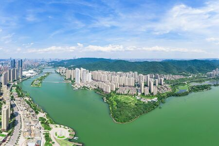 Aerial photography of Meixi Lake, Changsha City, Hunan Province, China