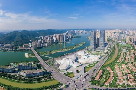 Aerial photography of the Grand Theatre of Meixi Lake Culture and Art Center, Changsha City, Hunan Province, China