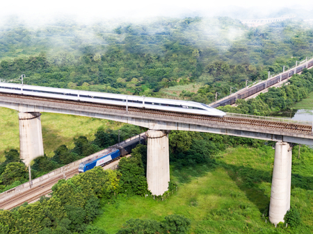 On a green meadow, a traditional electric train passes underneath a high-speed rail locomotive on a viaduct