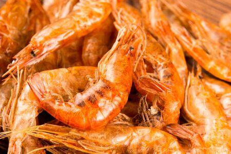 Dried river prawns close-up