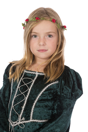 A pretty young medieval princess on white.