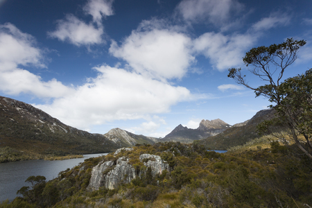 A landscape image on the hiking trail that circumnavigates Dove lake in Tasmania.