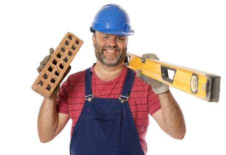 A portrait of a tradesman with tools of his trade.