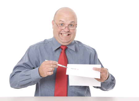 A shady looking salesman pushing for a signature. Stockfoto