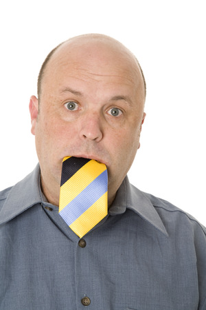 A person who said he would eat his tie if - concept.