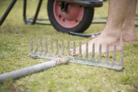 A home safety scenario with a rake presenting a hazardous situation.