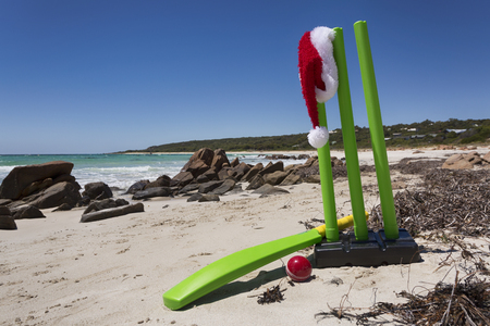 A cricket set on an Australian beach for a summer Christmas. Stock Photo