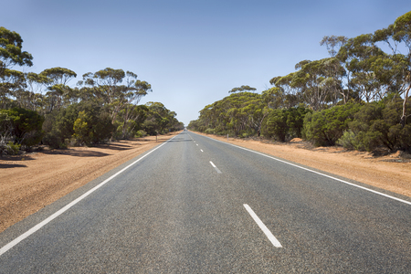 The Western End of Eyre Highway, leading to the Nullarbor Plain in Australia. 写真素材