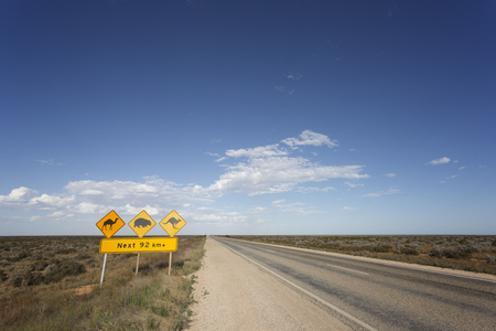 A warning sign on the Eyre Highway on the Nullarbor Plain in South Australia.