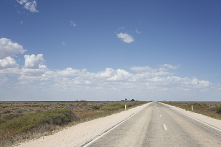 The Eyre Highway running through the Nullarbor Plain in South Australia. 写真素材