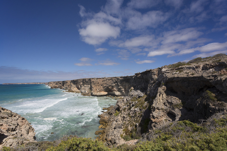 A view of the rugged coastal cliffs at the Great Australian Bight. 写真素材