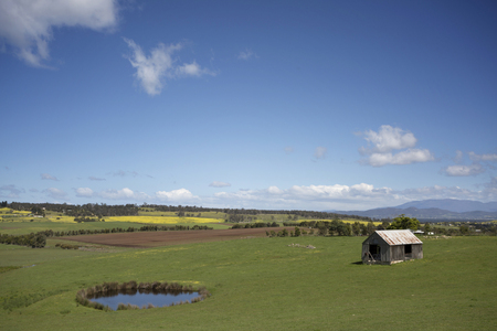 A beautiful green rural scene near the city of Hobart in Tasmania.