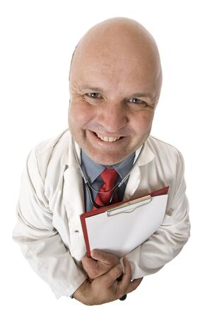 A high view of a smiling male doctor.