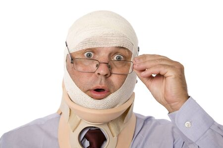 A traumatized man in neck brace and bandaged head.