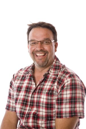 An average middle aged guy wearing glasses portrait.
