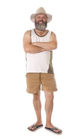 An Aussie guy standing with arms crossed, isolated on white.