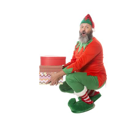 A Happy elf lifting with a straight back, demonstrating a good lifting technique.
