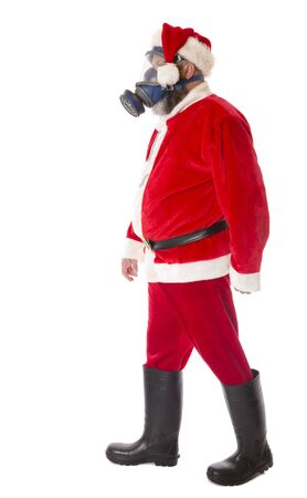 Santa wearing protective gear against coronavirus, sad Christmas concept. Stock fotó