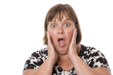 A middle aged woman with an amazed or shocked expression.