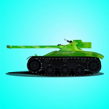 Green Tank in camouflage on a blue background Illustration
