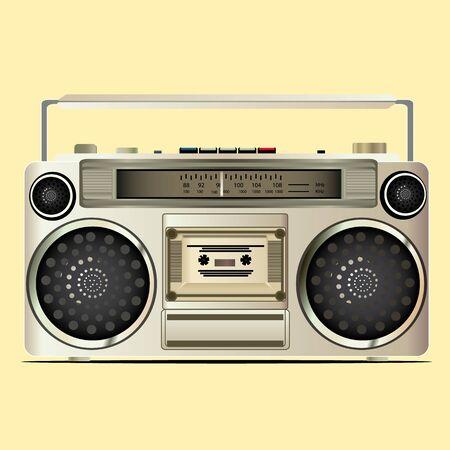 shortwave: mognitafon old film on a yellow background
