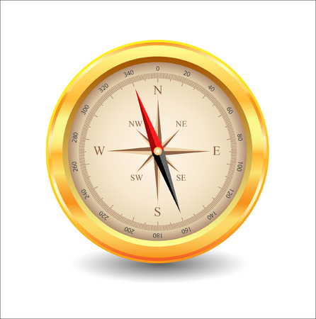 reference point: gold compass Illustration
