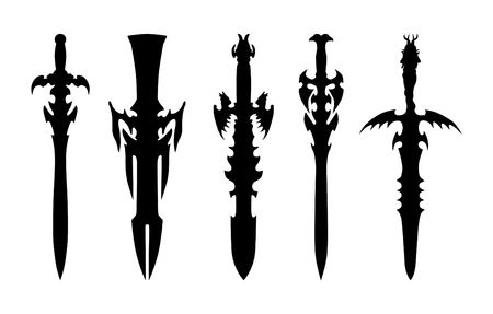 cold war: silhouettes of swords Illustration