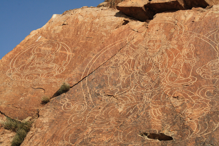 Petroglyphs on the rocks near the Ili River (Kazakhstan)