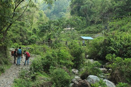 Narrow path in midst of mountains