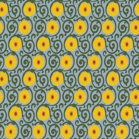 Seamless pattern or floral pattern in three colours