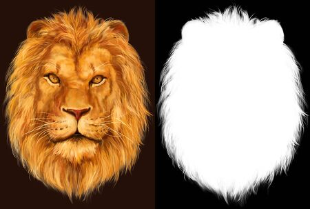 Imaginative hand drawn digital illustration of Lion head